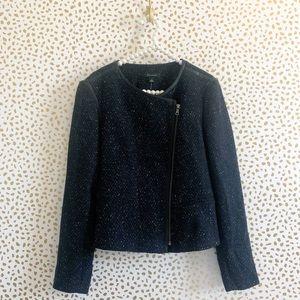 NWT Ann Taylor Tweed Leather Trim Jacket